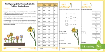 KS1 The Mystery of the Missing Daffodils Problem Solving Game - Spring, seasons, mystery game, KS1 mystery game, missing daffodils, maths game, problem solving, mon