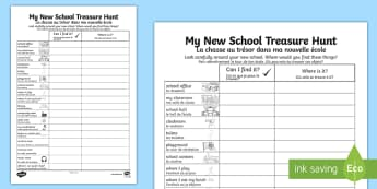 My New School Treasure Hunt Activity Sheet English/French - EAL translation, worksheet, getting to know, transition, bump-up day