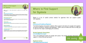Dyslexia Support Directory Adult Guidance - Dyslexia, SEN, Specific learning difficulties, Directory, Support