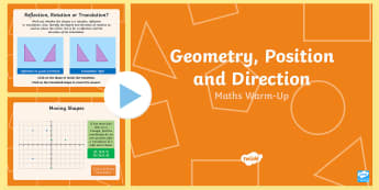 Year 6 Geometry Position and Direction Maths Warm-Up PowerPoint - KS2 Maths warm up powerpoints, warm up, warm-up, warmup, starter, mental starters, Y6, maths, curric