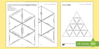 Circuits and Domestic Supply Tarsia Triangular Dominoes  - Tarsia, gcse, physics, wiring a plug, plug, domestic supply, voltage, current, resistance, series, p
