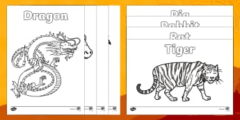 Chinese New Year Story Animals Colouring Pages - ESL Chinese New Year Resources