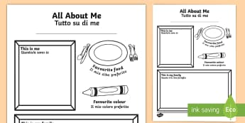All About Me Colouring and Drawing Activity Sheet English/Italian - All About Me Colouring and Drawing Worksheet - ourselves, colour, oursleves, colering, colourng, our