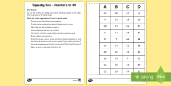 Squashy Boxes Numbers to 40 Craft - squashy box, squashy boxes, squashy, box, boxes, numbers, number, numbers to 40, craft, activity, maths, mathematics