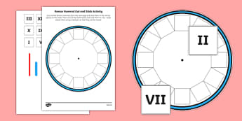 Blank Roman Numerals Clock Cut and Stick Activity - blank, roman numerals, clock, cut and stick, activity