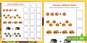 Autumn Addition Sheet - autumn, addition sheet, addition, maths, numeracy, adding, seasons, addition worksheet, autumn themed worksheet, seasons themed work