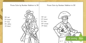 Pirate Addition to 30 Color by Numbers Activity Sheets - pirate, addition, color by number, math, art, worksheets, math center, problem-solving