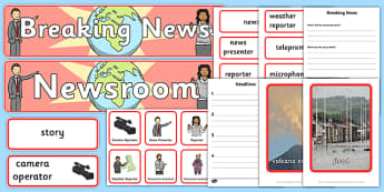 Newsroom Role Play Pack - news, newsroom, breaking news, role play, pack, play, news presenter, reporter, camera, headlines, story, press, camera operator, bulletin