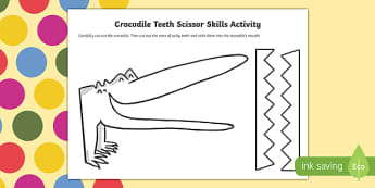 Crocodile Teeth Scissor Skills Activity to Support Teaching on The Enormous Crocodile
