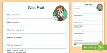 John Muir Fact File Activity Sheet - National Parks, Environmentalist, Dunbar, John Muir Way, Yosemite, ,Scottish