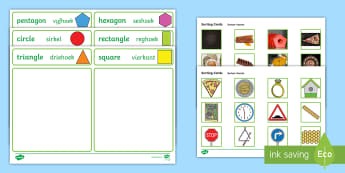 2D Shape Sorting Activity English/Afrikaans - Triangle, rectangle, square, circle, numeracy, fine motor skills, EAL