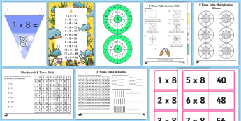 8 Times Table - Maths Resources, maths, ks2, numeracy, multiplication, time, timestable, eight, 8,
