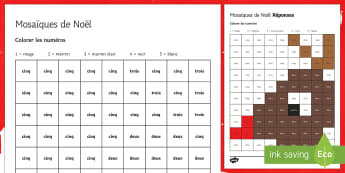 French Numbers Christmas Mosaic - ks3 languages, ks3 french, christmas french, french numbers