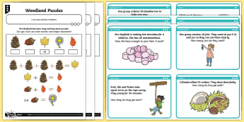 Woodland-Themed Multiplication and Division Differentiated Activity Sheets and Activity Cards - Division, problem solving, fluency, reasoning, word problems, Solve problems involving multiplicatio