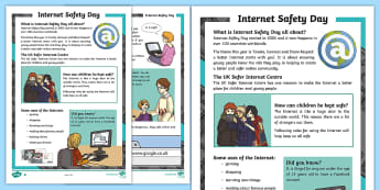 KS2 Internet Safety Day Differentiated Reading Comprehension Activity - Internet Safety Day, personal information, safety online, strangers, computer virus, safe, staying s