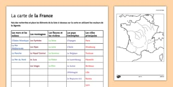 Map of France Activity Sheet French - french, Geography, River, Mountain, Country, City