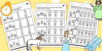 Cinderella Themed Capital Letter Matching Worksheet - cinderella