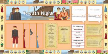 Twelfth Night Display Pack - Twelfth Night, Shakespeare, GCSE English, English Literature, Malvolio, Duke Orsino, drama, Elizabet
