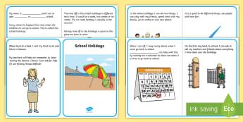 School Holidays Social Situation - social story, school holidays, school breaks, breaks from school, transition