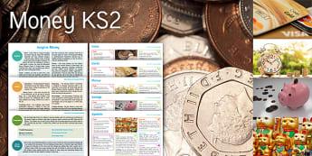 Imagine Money KS2 Resource Pack - coins, cards, phrases, savings, symbols, maths, money word problems, money patterns, percentages, en
