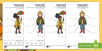 Autumn Clothes Labelling Differentiated Activity Sheets English/German - seasons, weather, clothing, EAL, German, English-German,,German-translation