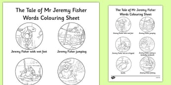 Beatrix Potter - The Tale of Mr Jeremy Fisher Words Colouring Sheet - beatrix potter, story, story book, tale, mr jeremy fisher, words, colour