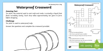 Waterproof Materials Crossword - Amazing Fact Of The Day, activity sheets, powerpoint, starter, morning activity, March, crossword, s