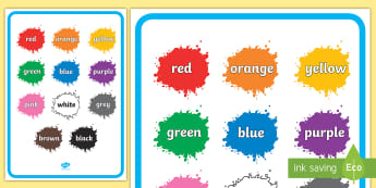 Colour Names on Splats Display Poster -  black, white, red, green, blue, yellow, orange, purple, pink, brown, colour splodges, painting