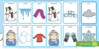 Winter Pairs Matching Card Game - winter, pairs, matching, game, sweater, gloves, clothes, snow, ice, weather