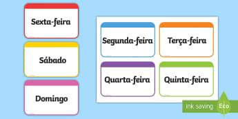 Dias da semana, cartões - dia,semana,mes,dias,semanas,meses,ano,anos,tempo,gestao,sala de aula, calendario, vocabulario