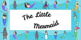 The Little Mermaid Display Borders - story books, border, display