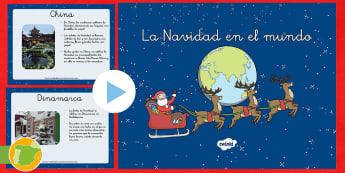 La Navidad en el mundo Presentación - diapositivas, navidad, villancicos, regalos, india, francia, dinamarca, japon, china, clase, materia