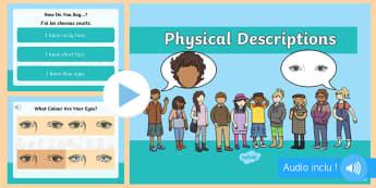 PowerPoint : Apprendre à se décrire en anglais - Langues vivantes, cycle 2, cycle 3, description physique, cheveux, yeux,French