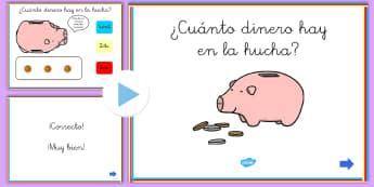 Presentación: ¿Cuánto dinero hay en la hucha? - dinero, monedas, contar, euros, céntimos, cts., cént., hucha, mates, matemáticas, sumar, sumas, a