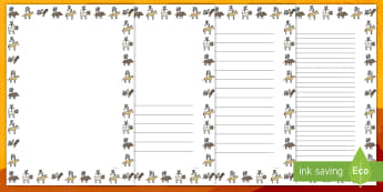 Chinese New Year Animal Symbol Themed Page Border English/French  - border, frame, writing frame, chinese new year animal symbols, chinese animal symbols page borders,