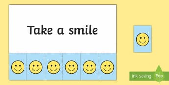 Take a Smile - Positivity Tokens - Requests KS1, wellbeing, happy, happiness, smiles, positive