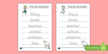 Mary Had a Little Lamb Trace The Words Worksheet - mary had a little lamb, nursery rhyme, trace the words