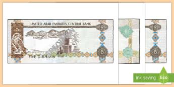 UAE -  Maths - Money - Year 3 Display Cut-Outs - dirham, gulf, aed,