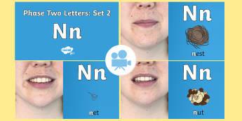 Phase 2 Phonemes : Set 2 'n' Video - Phonics, Letters and Sounds, Grapheme, pronunciation, i,n,m,d,phoneme, Twinkl Go, twinkl go, TwinklGo, twinklgo