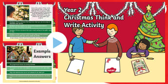 Year 2 Christmas Think & Write Morning Starter Activity PowerPoint - Slow writing, spag, independent writing, Y2, xmas pictures, christmas morning starter, christmas morning activity, Christmas Morning English Task