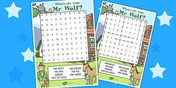 Word Search to Support Teaching on What's The Time, Mr Wolf? - wordsearch, time, mr wolf