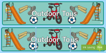 Outdoor Toys Display Banner - outdoor toys, display, banner, sign, poster, toys, play, playing,  games, dice, robot, doll, skateboard, games console, games, bike, scooter, diabolo, jacks, pop gun, skittles