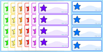 Multicoloured Drawer Peg Name Labels with Stars - name, labels