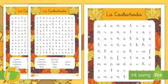 La castañada Sopa de letras de atención a la diversidad - otoño, fiestas, tradiciones, castañas, castañera,Spanish