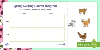 Spring Animals Shape Sorting Activity Sheet - NI KS1 Numeracy, sorting, Carroll diagram, animals, spring, practical activity, cut and stick.