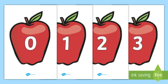 Numbers 0-20 on Apples - Apples, apples, Foundation Numeracy, Number recognition, Number flashcards, 0-20, harvest, fruit