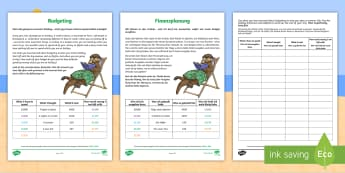 Budgeting for a Summer Holiday Money Activity Sheets English/German - Money, Budgeting, Planning, spending,Scottish, scotland, curriculum, excellence, paying, summer, sum