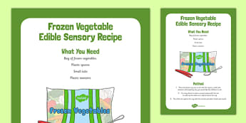 Frozen Vegetables Edible Sensory Recipe - cooking, recipe, autumn, eyfs, early years, frozen vegitables, sensory