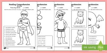 Reading Comprehension   Three Key Words Activity Sheet - English/Mandarin Chinese - Reading comprehension, information carrying words, key words, follow instructions, worksheet, activi