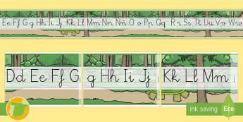 Recta alfabética de exposición: La liebre y la tortuga - lengua, abecedario, formación de letras, cuentos tradicionales, cuentos con valores
